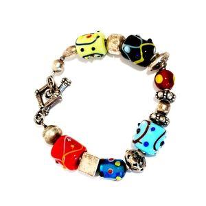 Sterling silver lampwork style glass silpada bracelet